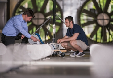 people working in the wind tunnel