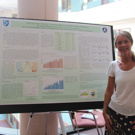 woman posing with research poster
